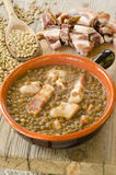 Lentil soup and bacon Stock Photos
