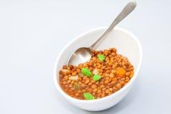 Lentil soup on bowl. A bowl of homemade lentil soup with vegetables Stock Images
