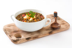 Lentil soup in a bowl, isolated. On white background Royalty Free Stock Photography