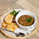 Lentil soup. In bowl. Selective focus, shallow depth Royalty Free Stock Photo