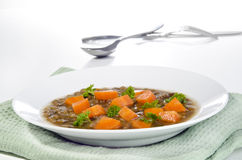 Lentil soup with carrots Royalty Free Stock Photo