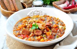 Lentil soup with chicken and pepperoni sausage, onion, carrot, sweet ...