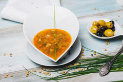 Lentil soup with chorizo and vegetables on a Royalty Free Stock Photography