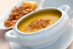 Lentil soup with crackers Stock Photo