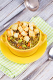 Lentil Soup with Croutons. Royalty Free Stock Photo