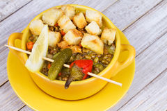 Lentil Soup with Croutons. Stock Photo