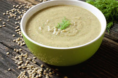 Lentil soup. Fresh creamy lentil soup with dill Royalty Free Stock Photos