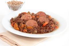 Lentil soup with kielbasa sausage Stock Photography