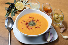 Lentil soup. Lentile soup with olive oil and olives on the wooden table Royalty Free Stock Images