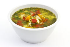 Lentil soup with lots of vegetables and chicken Royalty Free Stock Images