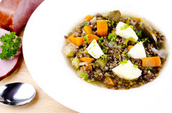 Lentil soup with meat Stock Images