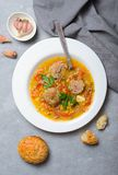 Lentil Soup with Meatballs, Homemade Delicious Meal royalty free stock image