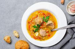 Lentil Soup with Meatballs, Homemade Delicious Meal stock image