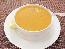 Lentil soup. Nice bowl of lentil soup with lemon Stock Photos
