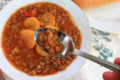 Lentil Soup with Plantains Stock Image