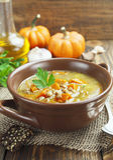 Lentil soup with pumpkin Stock Images