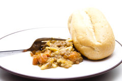 Lentil soup with roll Stock Photo