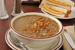Lentil soup with a sandwich Royalty Free Stock Photography