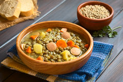 Lentil Soup with Sausage Stock Image