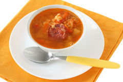 Lentil soup with sausages Royalty Free Stock Photography