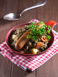 Lentil soup with sausages Royalty Free Stock Image