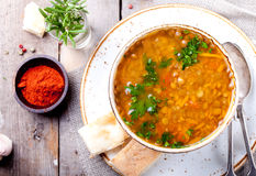 Lentil soup with smoked paprika and bread Royalty Free Stock Photos