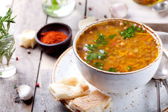 Lentil soup with smoked paprika and bread Stock Photography