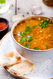 Lentil soup with smoked paprika and bread Royalty Free Stock Photo