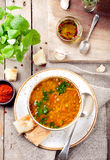 Lentil soup with smoked paprika and bread Stock Photos