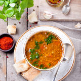 Lentil soup with smoked paprika and bread Stock Images