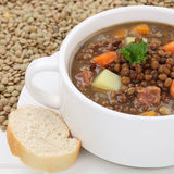 Lentil soup stew with many lentils closeup healthy eating Stock Images