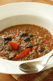 Lentil soup with tomato and some olive Royalty Free Stock Photo