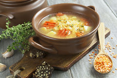 Lentil soup with vegetables Royalty Free Stock Photo