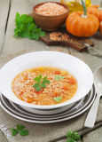 Lentil soup with vegetables Royalty Free Stock Photos