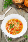 Lentil soup with vegetables Royalty Free Stock Photography