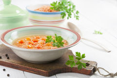 Lentil soup with vegetables Royalty Free Stock Images
