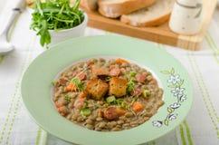 Lentil soup with Viennese sausage Stock Photos