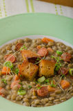 Lentil soup with Viennese sausage Royalty Free Stock Photos