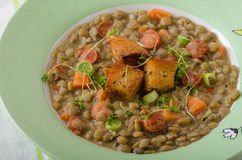 Lentil soup with Viennese sausage Royalty Free Stock Images