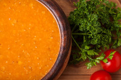 Lentil soup. In a wooden dish Stock Photography