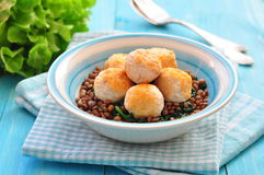 Lentil with spinach and meatballs from a turkey Stock Image