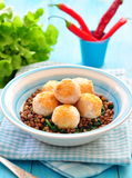 Lentil with spinach and meatballs from a turkey Stock Images