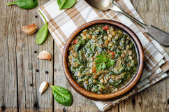Lentil spinach soup Royalty Free Stock Image