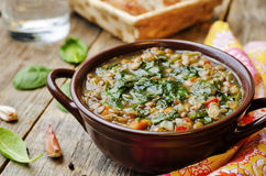 Lentil spinach soup. On a dark wood background. the toning. selective focus Royalty Free Stock Photo