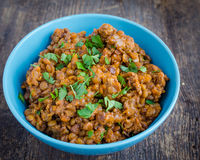 Lentil stew in a bowl with parsley Royalty Free Stock Photos