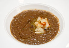 Lentil stew with scallops Stock Photo