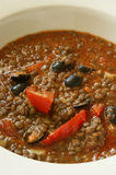 Lentil with tomato and some olive Royalty Free Stock Photography