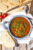 Lentil and tomato soup Stock Photo