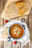 Lentil and tomato soup Stock Image