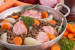 Lentil with vegetable and sausage Royalty Free Stock Images